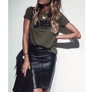 Vintage | Leather High Waist Pencil Skirt Medium